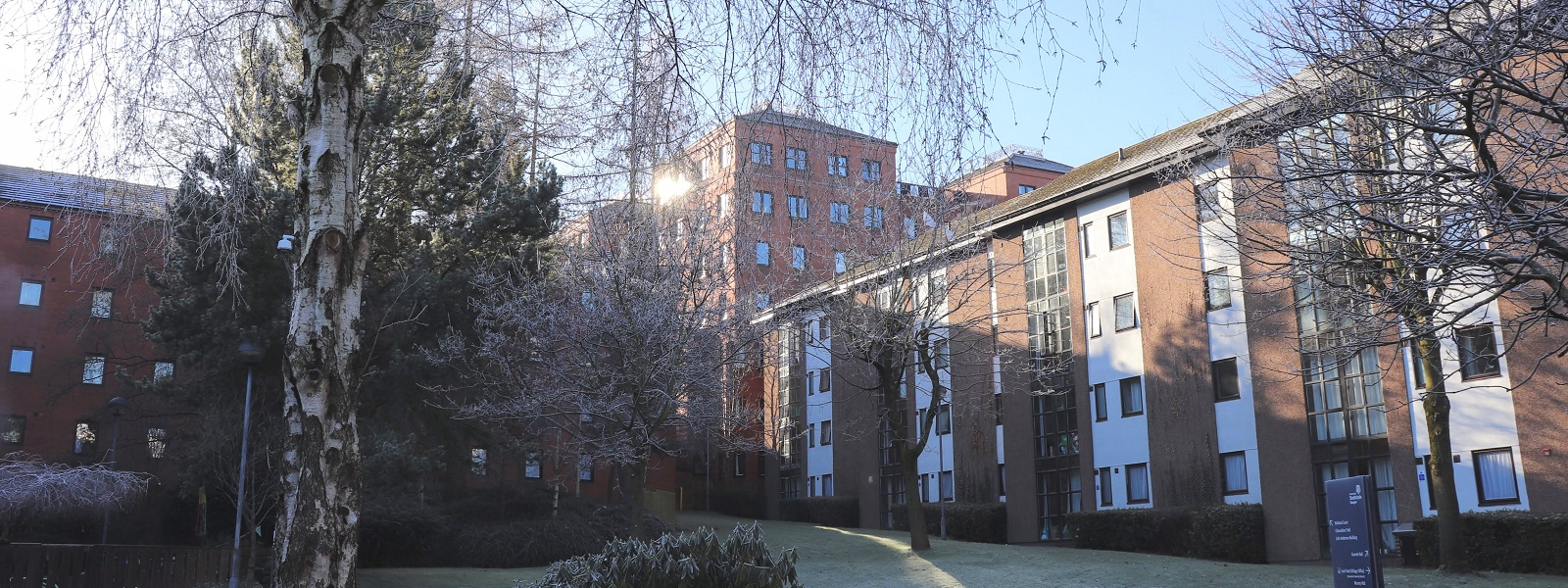 a view of Birkbeck Court in the winter