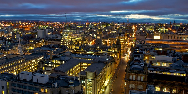 Glasgow at dusk, view from Livingstone Tower