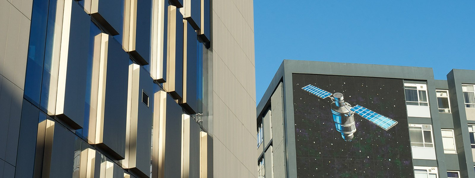 The Technology and Innovation Centre alongside Graham Hills Building with space mural1600x600