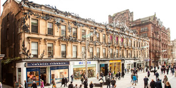 exterior shot of princes square from buchanan street with lots of people walking past