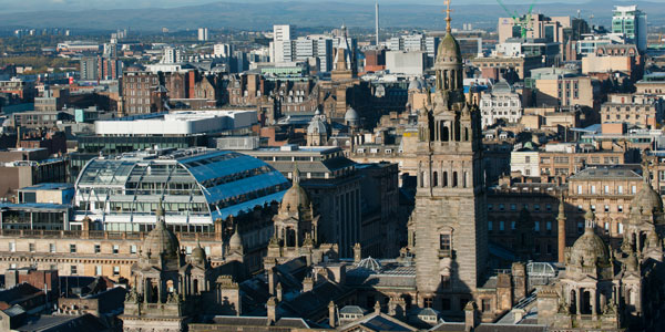 aerial shot of Glasgow