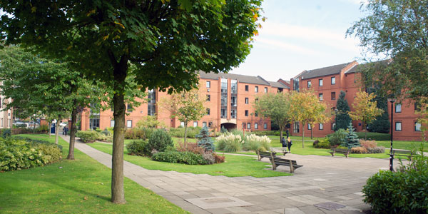 the campus village - an open green space surrounded by students halls