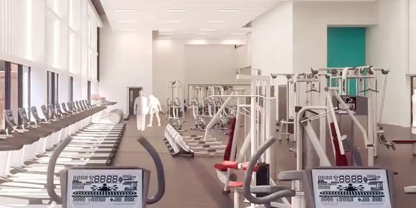 an artists impression of the fitness suite in the new sports centre - a large room with lots of workout equipment