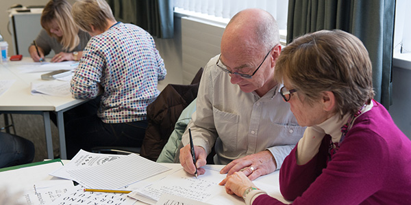 Students at a calligraphy class at the Centre for Lifelong Learning