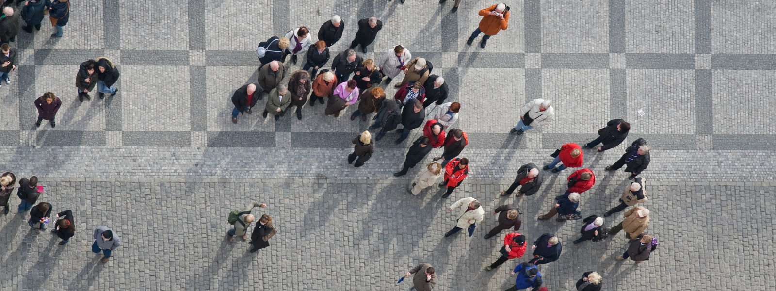 crowd in street viewed from above