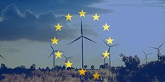 Wind turbines with EU flag superimposed