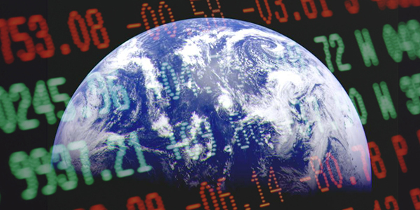 Earth with stock market information superimposed