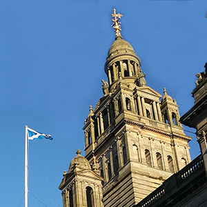 Glasgow City Chambers with Scotland flag flying