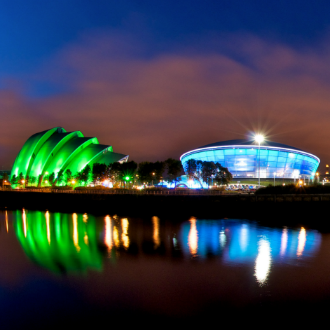 Glasgow at night, seen from the Clyde