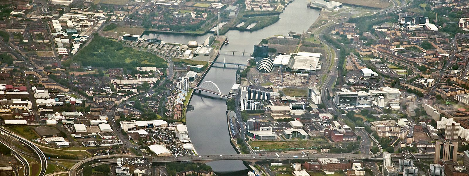 Aerial view of Glasgow city centre and River Clyde