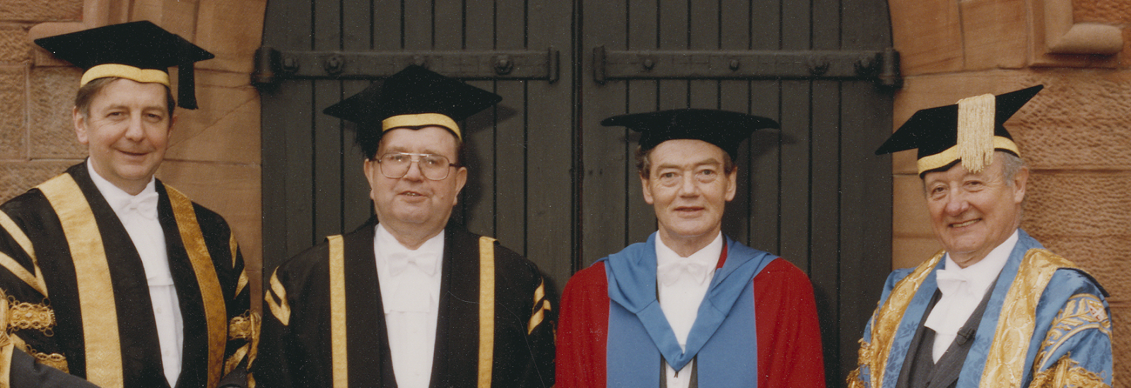 Lord Tombs of Brailes (far right) pictured in 1992 with, left to right:: Professor (later Sir) John Arbuthnott, then Principal of Strathclyde;Strathclyde Professor John Butt; Thomas Johnston OBE, then University Treasurer and recipient of honorary degree.