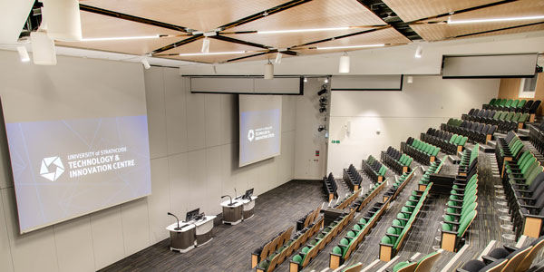 Auditorium B&C combined in the Technology and Innovation Centre, view from rear.  Photo: Lucy Knott