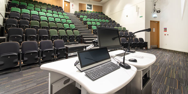 Auditorium C in the Technology and Innovation Centre, view from behind the lectern with laptop.  Photo: Lucy Knott