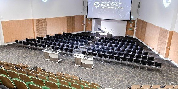 Main auditorium set theatre style in the Technology and Innovation Centre.  Photo: Lucy Knott