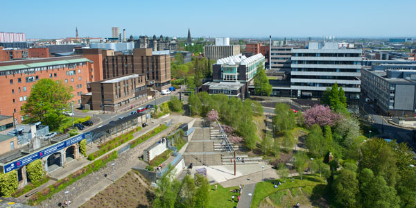 a view over campus, rottenrow gardens and the business school