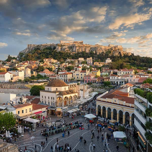 Sunset over the Plaka, the old town of Athens.