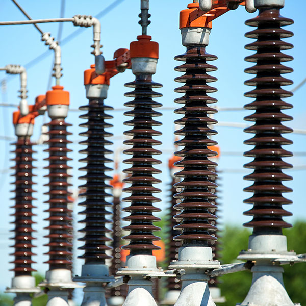 Detail of High voltage power transformer in substation