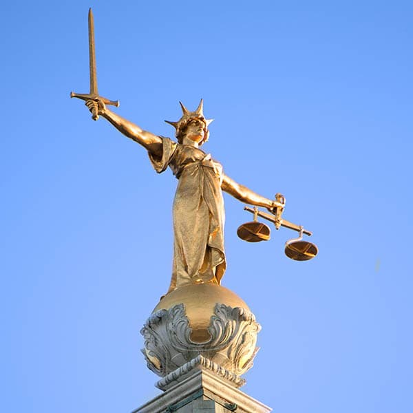 Lady Justice statue from Old Bailey