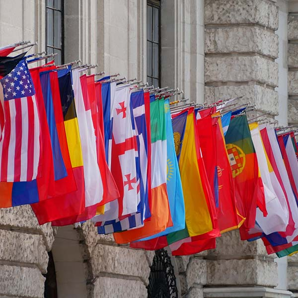 International flags outside building