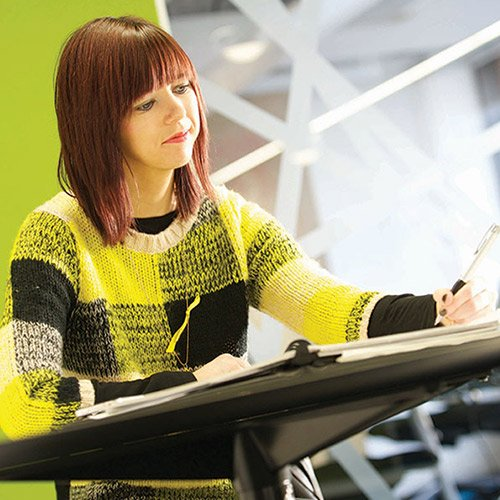 Female student working