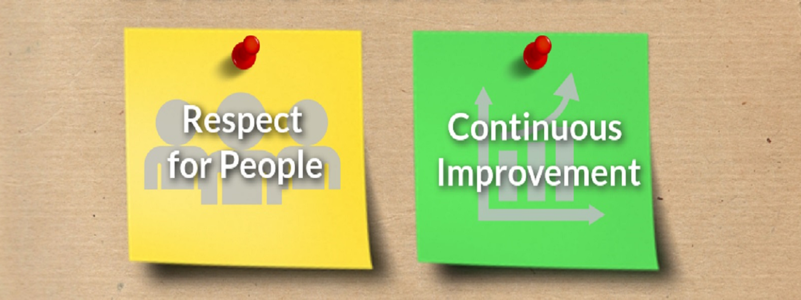 Post-its on pin board saying respect for people and continuous improvement