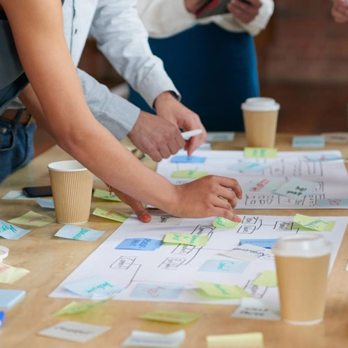 a team works around a table covered in post its
