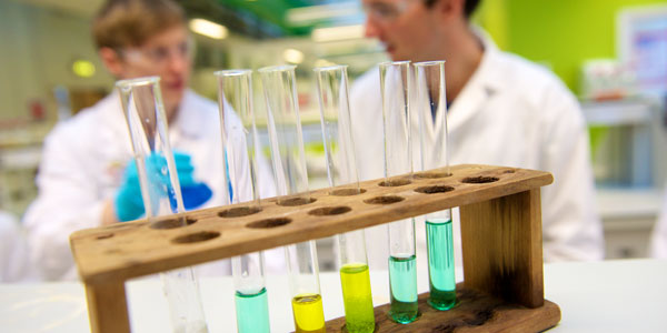 test tubes with colourful liquid in focus while two researchers have a discussion in the background, out of focus