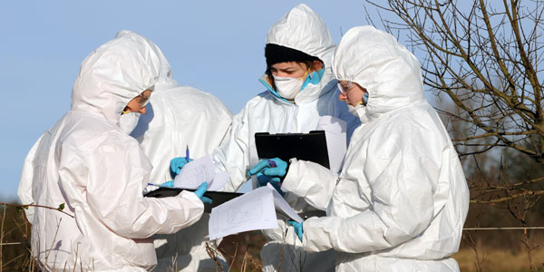 Four Forensic Science students out in the field, wearing white full-body suits, holding clipboards, discussing their case