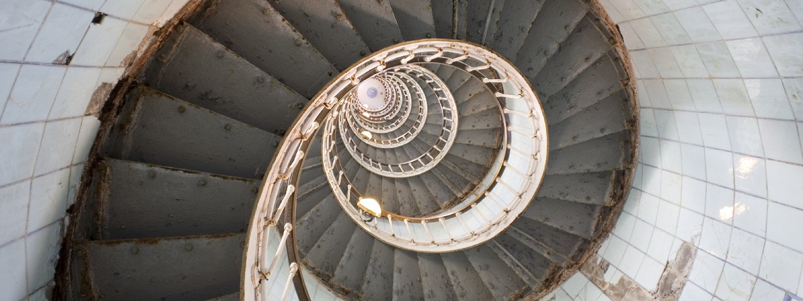 Looking up spiral staircase