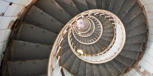 Looking up a spiral staircase