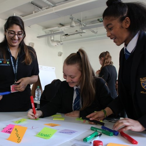 Female pupils taking part in outreach activities