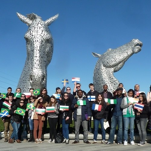 International student society trip to the Kelpies