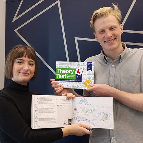Katie Forbes and Matthew Carter with Theory Test Educational Colouring Book
