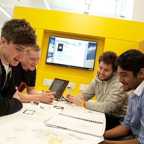 Design, Manufacture & Engineering Management students working together