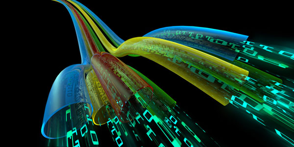 colourful network cables transmitting information