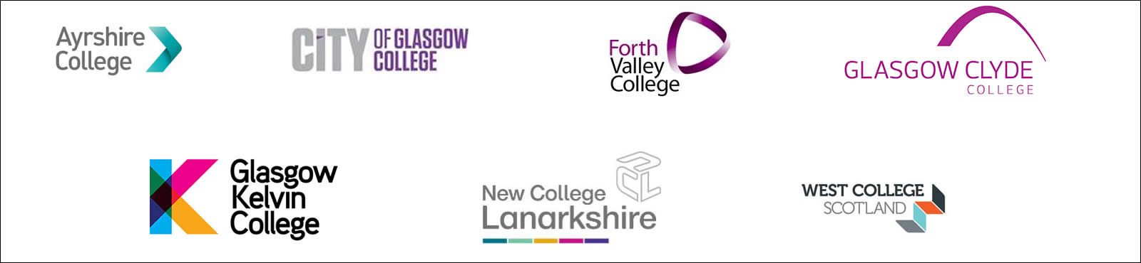 Engineering academy college partners logos - Ayrshire College, City of Glasgow College, Forth Valley College, Glasgow Clyde College, Glasgow Kelvin College, New College Lanarkshire, West College Scotland