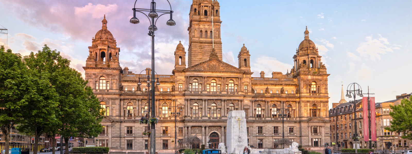 Glasgow's George Square in the evening