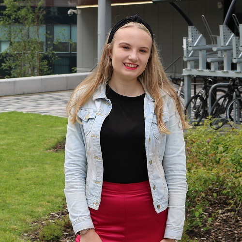 Languages student Chloe Pearson on campus