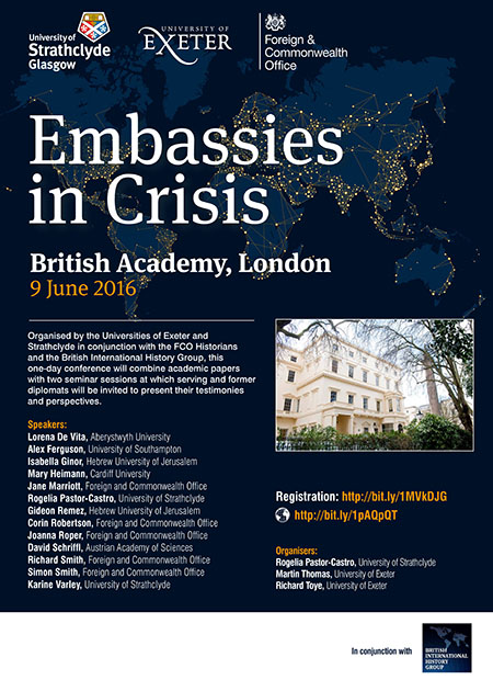 Poster for Embassies in Crisis conference, June 2016