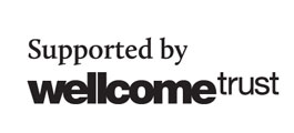 Wellcome trust logo which states Supported by wellcome trust in black and white text