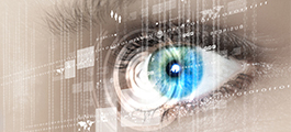 Photo of eye reading digital data