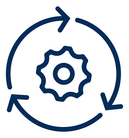 Icon depicting research: a cog surrounded by a continuous process arrow