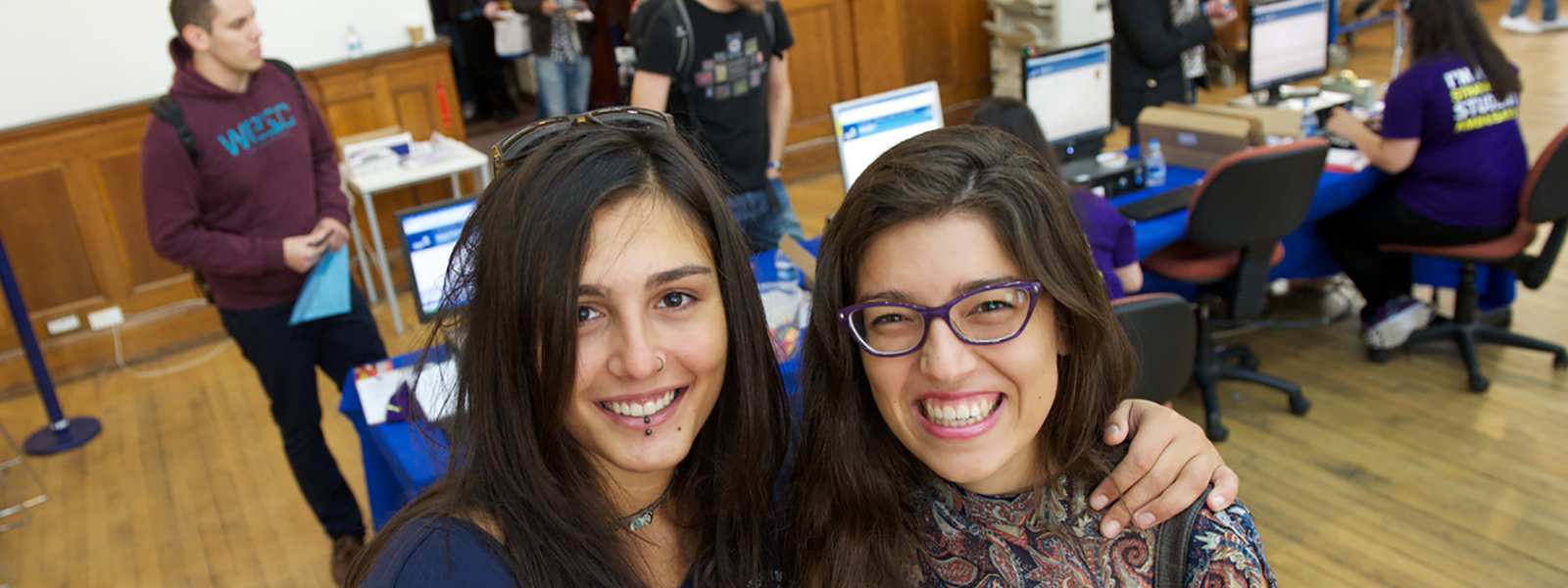 Two students at Registration during Freshers' Week