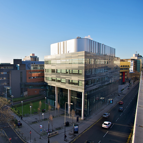 Strathclyde Institute of Pharmacy & Biomedical Sciences building and Cathedral Street
