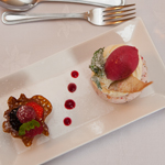 Cranachan Iced Parfait, Macerated Berries with Almond Tuile and Mint Syrup, Raspberry Sorbet
