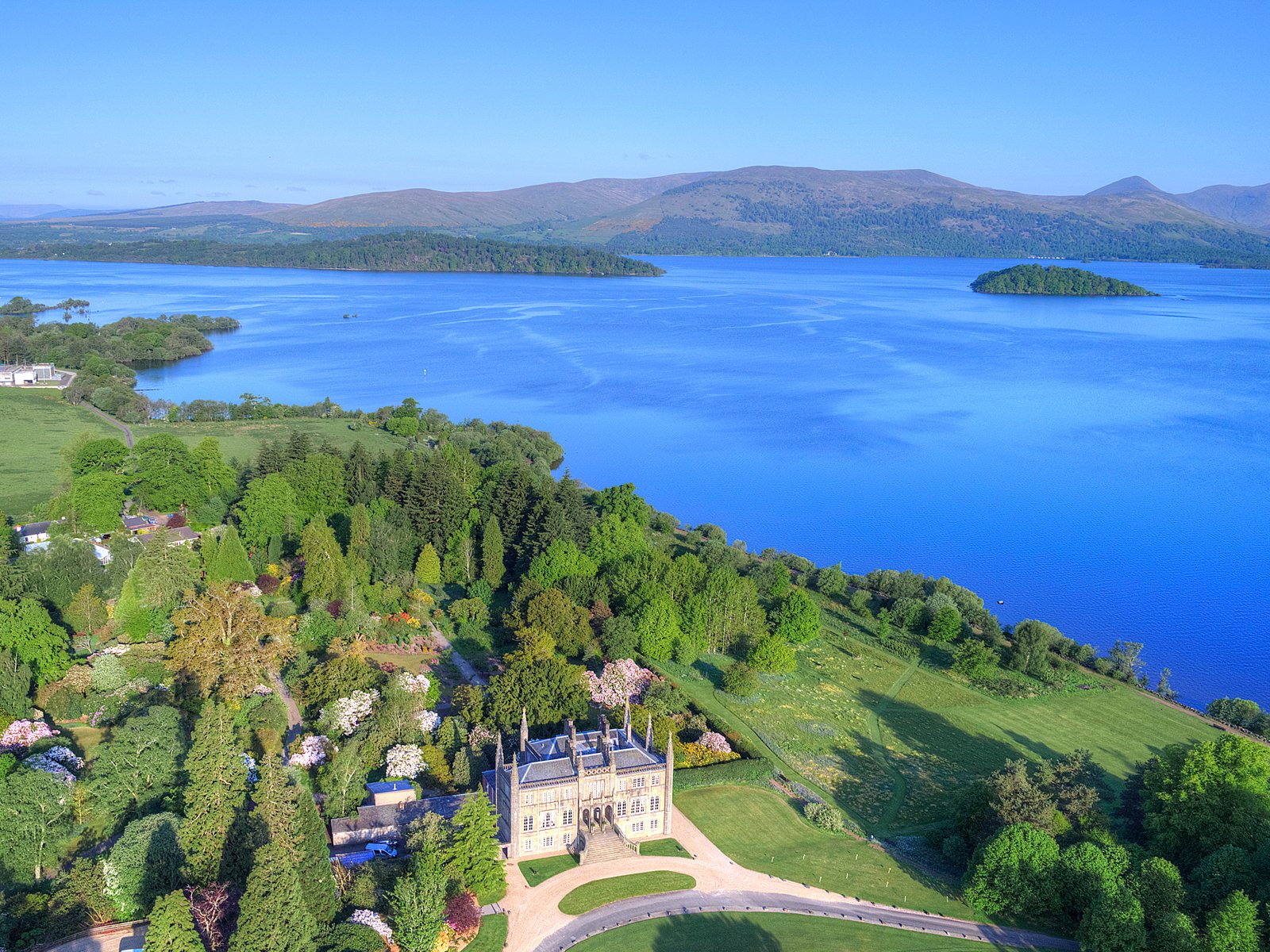 Aerial shot of Ross Priory and estate, with views over Loch Lomond. Image courtesy of Aye in the Sky.