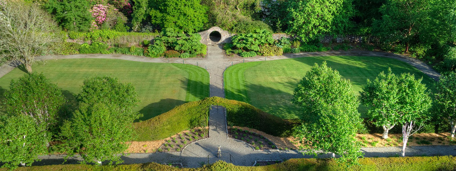 Aerial shot of the moongate in the walled garden at Ross Priory. Image courtesy of Aye in the Sky Aerial Photography