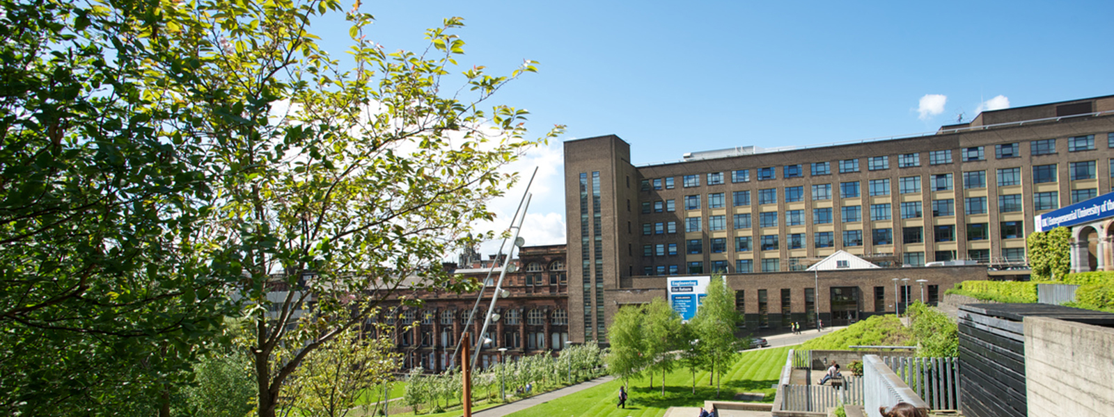 View of the University of Strathclyde's James Weir building looking across Rottenrow Gardens