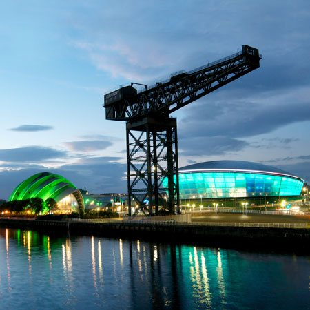 Glasgow at Night - Clyde, Crane, Armadillo, Hydro