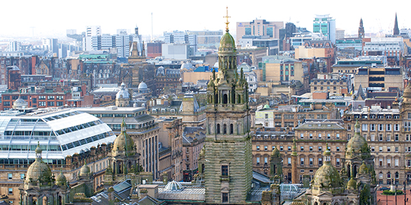 View over Glasgow City Chambers and the city skyline